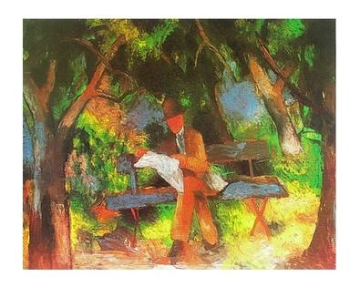 August Macke Lesender Mann im Park