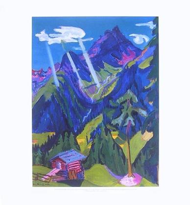 Ernst Ludwig Kirchner Bündner Landschaft mit Sonnenstrahlen