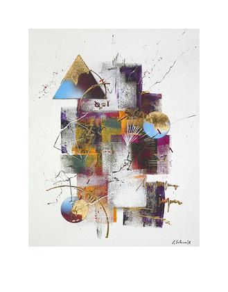 claus schenk collage ii poster bild kunstdruck mit alu rahmen in schwarz 50x40cm ebay. Black Bedroom Furniture Sets. Home Design Ideas