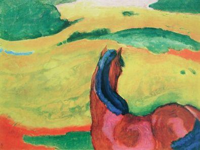 Franz Marc Pferd in Landschaft (Kleinformat)