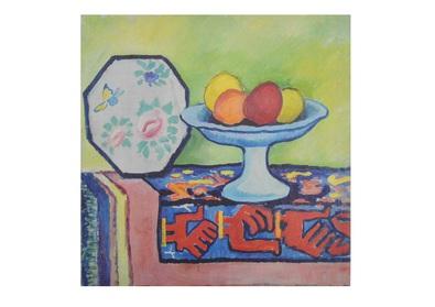 August Macke Stillleben mit Apfelschale und japanischem Faecher
