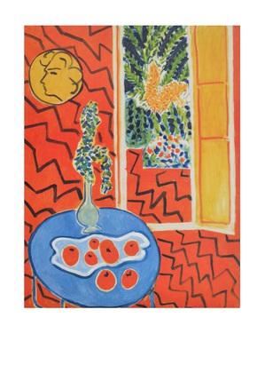 Henri Matisse Rotes Interieur  Stillleben auf blauem Tisch