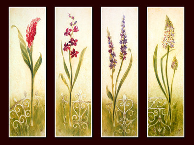 Lauren Hamilton 4er Set 'Coral Bloom' + 'Crimson Bloom' + 'Violet Bloom' + 'Lavender Bloom'