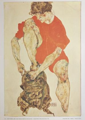 Egon Schiele Weibliches Modell mit feuerrotem Kleid