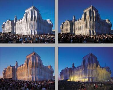 Christo und Jeanne-Claude Reichstag Mappe I, 4 Blatt, 1 Druck, Titel + Stoff