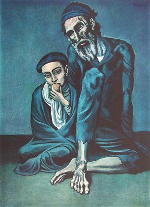 Pablo Picasso Alter Bettler mit Knaben