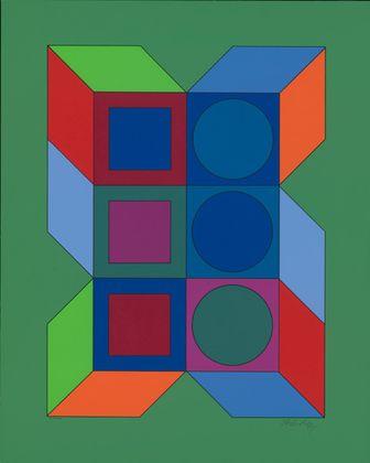 Victor Vasarely Ohne Titel XLV (Gruen)