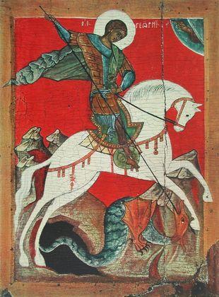 Ikone Nowgorod Der Heilige Georg