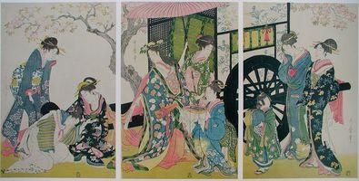 Utamaro Kitagawa Abschied von der Schoenen vor der Wagenfahrt