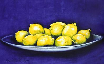 Nicht bekannt Citrons in Blue (handsigniert)