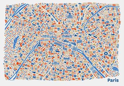 Paris Stadtplan Poster Vianina