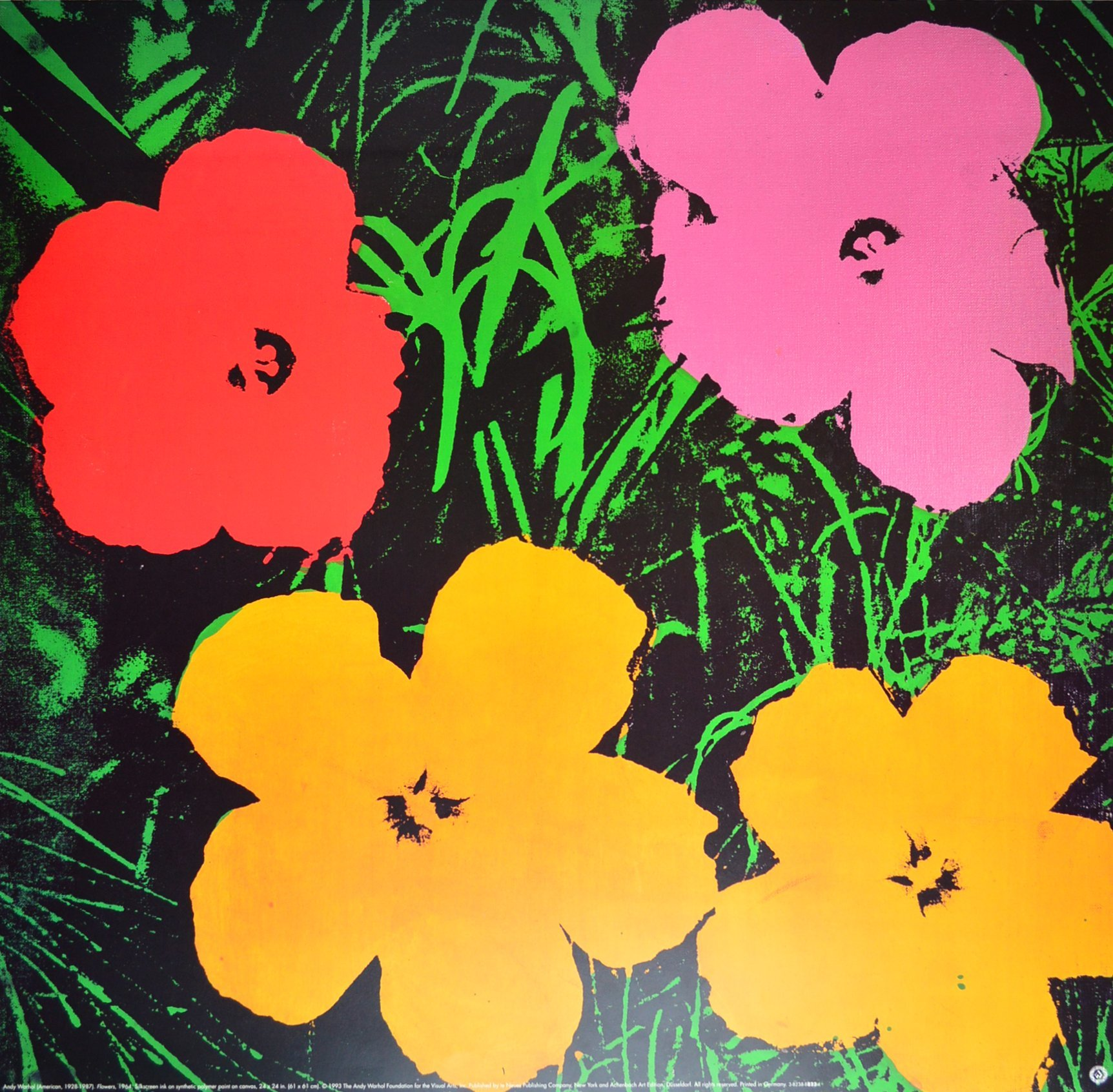 andy warhol poster kunstdruck bild blumen flowers pink. Black Bedroom Furniture Sets. Home Design Ideas