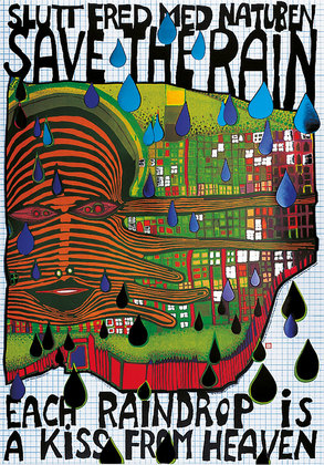 hundertwasser save the rain poster bild kunstdruck im alu rahmen schwarz 59x84cm ebay. Black Bedroom Furniture Sets. Home Design Ideas