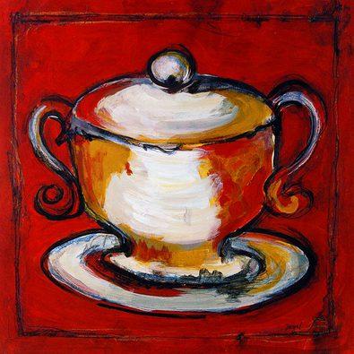 Dougall 4er Set 'Scarlet Sugar Bowl' + 'Scarlet Teapot' + 'Scarlet Teacup' + 'Scarlet Creamer'