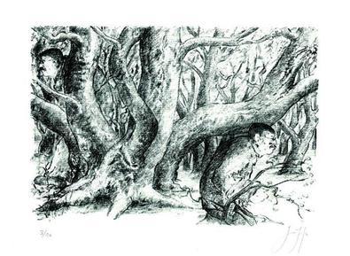 Guenter Grass Doppelt im Wald I, 2008