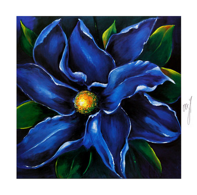 Norbert Vogl Blaue Blume (handsigniert)