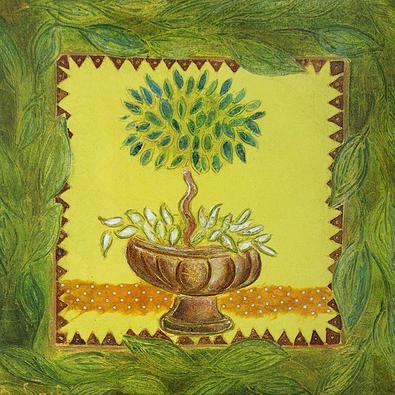 Bernadette Lopicki 4er Set 'Vasque au laurier vert' + 'Vasque au laurier ocre' + 'Vasque au lierre vert' + 'Vasque au lierre ocre'