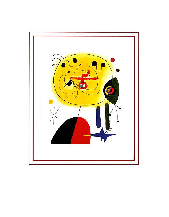 joan miro and fix the hairs on the star with passepartout poster art print picture ebay. Black Bedroom Furniture Sets. Home Design Ideas