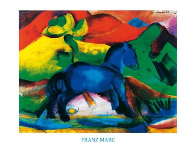 Franz Marc Blaues Pferdchen Mit Schrift Poster Kunstdruck