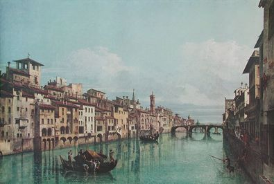 Bernardo Canaletto - Bellotto Der Fluss Arno in Florenz  Ponte Santa Trinita