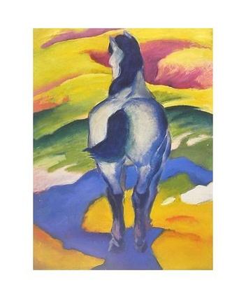 franz marc blaues pferd ii poster bild kunstdruck im alu rahmen schwarz 58x48cm ebay. Black Bedroom Furniture Sets. Home Design Ideas
