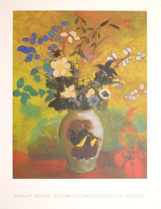 Odilon Redon Exotische Blumen in Vase mit japanischem Kaempfer