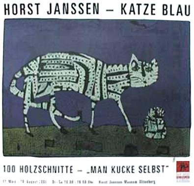 Horst Janssen Katze blau