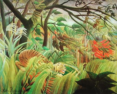 Henri Rousseau ueberrascht Sturm im Wald