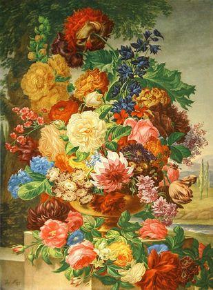 Nigg Joseph Blumen mit Landschaft