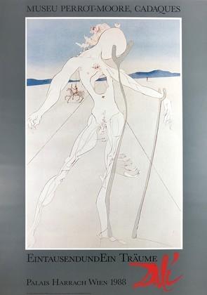Salvador Dali Mann auf zwei Holzstoecke gestuetzt