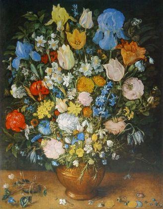 Jan Brueghel Blumen in brauner Vase
