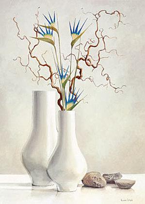 Karin Van der Valk Willow Twigs with Blue Flowers