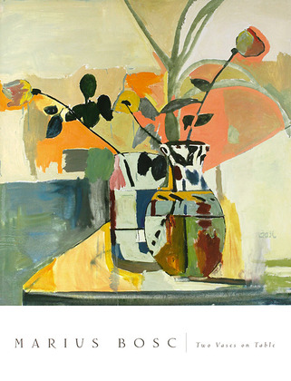 Marius Bosc 2er Set 'Two Vases on Table' + 'Bouquet of Roses'