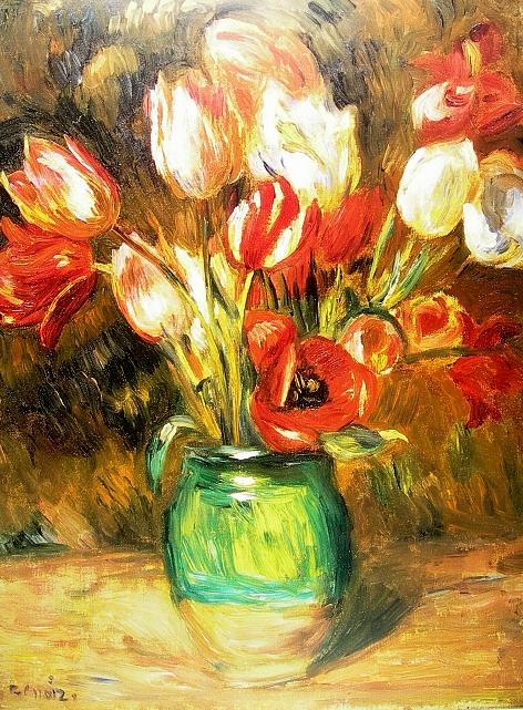 renoir tulpen in vase poster kunstdruck bild 60x80cm ebay. Black Bedroom Furniture Sets. Home Design Ideas