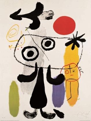 Joan Miro Figur gegen rote Sonne II