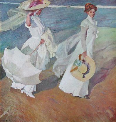 Joaquin y Bastida Sorolla Zwei Damen promenieren am Strand