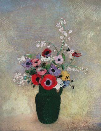 Odilon Redon Grosse gruene Vase mit Blumen