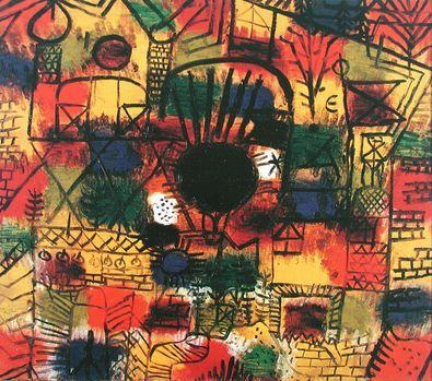 Paul Klee Komposition mit schwarzem Brennpunkt