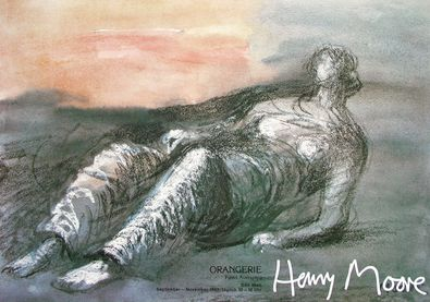 Henry Moore Liegende Figur (farbige Kreide)