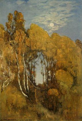 Eugen Bracht Herbstlicher Wald bei Mondschein