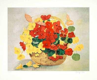 Brigitte P. Hoff Rotes Blumenstilleben (2000)