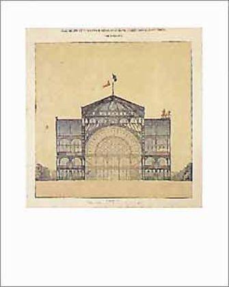Jakob Ignaz Hittorff Industriepalaus Gusseisen und Glas fuer die Champs Elysees Querschnitt 1852