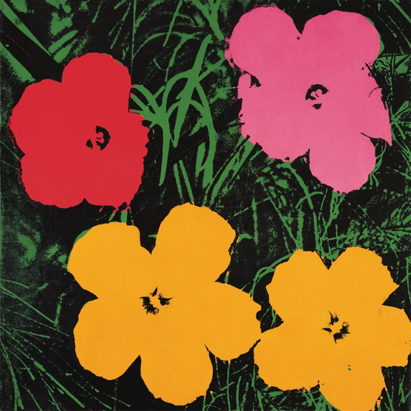 andy warhol flowers 1964 1 red 1 pink 2 yellow poster kunstdruck bei. Black Bedroom Furniture Sets. Home Design Ideas