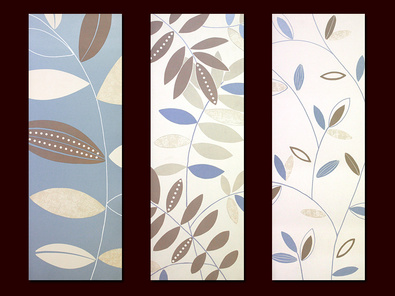 Design Show 3er Set 'Stencil Leaf' + 'Waving Stems' + 'Blue Leaf Stem'
