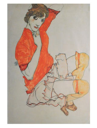 Egon Schiele Wally in roter Bluse