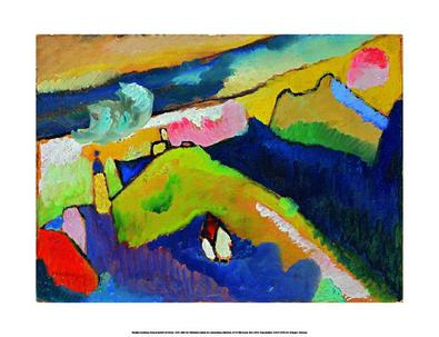 Kandinsky wassily berglandschaft mit kirche 1910 large