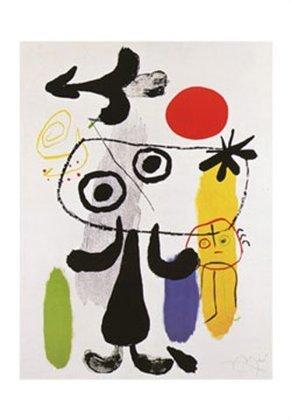 Joan Miro Figuren gegen rote Sonne