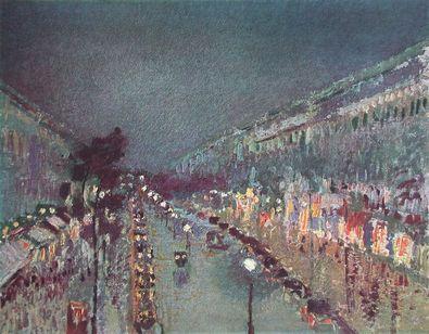 Camille Pissarro Boulevard Montmartre am Abend