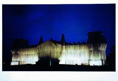 Christo und Jeanne-Claude Reichstag Westfassade tiefe Nacht