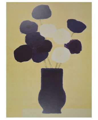 Bernard Cathelin Bouquet blanc et bleu